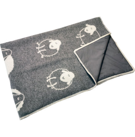 Wool blanket dark grey with sheep stitched with Steel grey radiation protection fabric