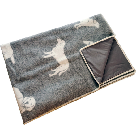 Wool blanket dark grey with moose and radiation protection fabric
