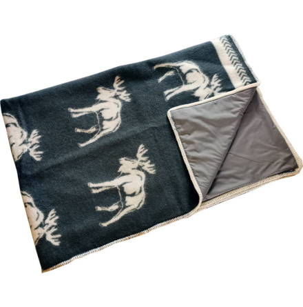 Wool plaid dark grey with mooses stitched with Steel-Grey radiation protection fabric