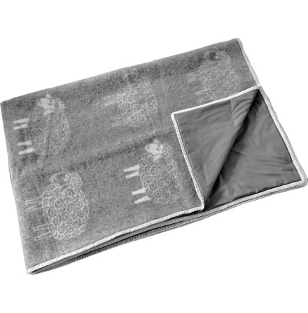 Wool blanket dark grey with fluffy sheep stitched with Steel grey radiation protection fabric
